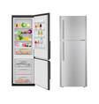 fridge with food opening realistic refrigerator vector image vector image