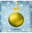 Gold christmas ball with ribbon and bow vector image