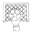hand holding soccer ball goal vector image vector image