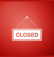 hanging sign with text closed door icon vector image vector image