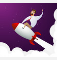 happy cartoon businessman sitting on rocket ship vector image