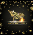 happy new year card gold template over black vector image vector image