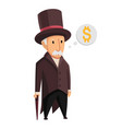 image a funny old man capitalist in a black vector image vector image
