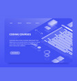 isometric concept landing page coding courses vector image vector image