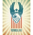 Memorial Day Typographic card with the American vector image vector image