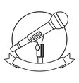 microphone icon cartoon round icon black and white vector image vector image