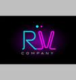 neon lights alphabet rv r v letter logo icon vector image vector image