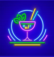 neon sign cocktail in glass vector image vector image