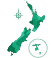 New Zealand contour map vector image vector image