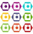 paper bag icon set color hexahedron vector image vector image