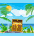 pirates treasure island with chest vector image vector image