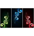 red green and blue flourishes vector image vector image