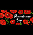 remembrance day and anzac poppy flowers memorial vector image vector image