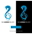 seahorse music concept with treble clef isolated vector image