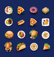 set fast food icons junk food vector image