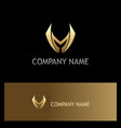 shape sharp letter m gold logo vector image vector image