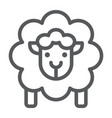 Sheep line icon wool and animal lamb sign
