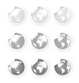 silver gray world globe icons stickers set vector image