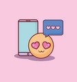 smartphone emticon message love online dating vector image vector image