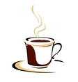 steaming cup aromatic coffee vector image vector image