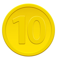 Ten coin vector image vector image