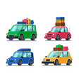 travel cars car with tourism gear and baggage vector image