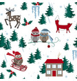 winter seamless pattern with house owls fox and vector image vector image