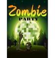 Halloween Zombie Party on green disco ball moon vector image