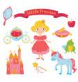 set of princess items girl in dress handle vector image