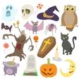 Halloween icons set cartoon style vector image