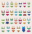 hand drawn set with various women swimsuits vector image