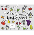 Back to school fruit doodle set background vector image
