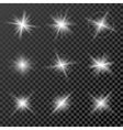 Set of glowing lights stars and sparkles isolated vector image