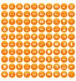 100 transport icons set orange vector image vector image
