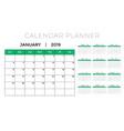 2019 calendar planner design template vector image vector image