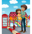 A father and his child near the toy store vector image vector image