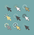 abstract funky active click cursor pointers icons vector image vector image