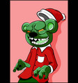 alien zombie bear with green skin in a christmas h vector image vector image