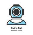 ancient diving suit monocolor vector image