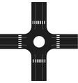 asphalt cross road plan stock isolated on white vector image vector image