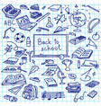 back to school hand drawn silhouettes on squared vector image vector image
