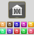 bank icon sign Set with eleven colored buttons for vector image