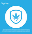 blue shield and marijuana or cannabis leaf icon vector image vector image