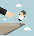 boss hand pushes businesswoman fall from cliff vector image vector image