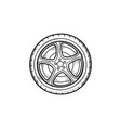 car wheel hand drawn outline doodle icon vector image