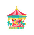 carnival carousel with horses funfair attraction vector image vector image