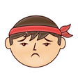 cartoon sad face chinese man vector image