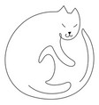 cat silhouette line art style drawing vector image