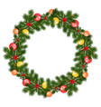 christmas wreath with decorations vector image vector image