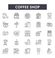 coffee shop line icons signs set outline vector image